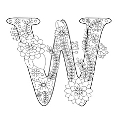 letter w coloring book for adults vector image