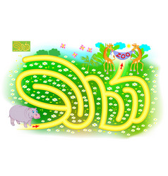 Logical puzzle game with labyrinth for kids vector