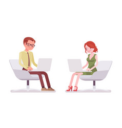 male and female clerk sitting and working vector image