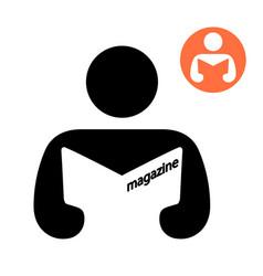 Man reading a magazine icon vector
