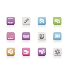 media equipment icons vector image