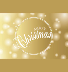 merry christmas hand lettering on gold background vector image