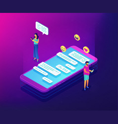Messaging application isometric 3d concept vector