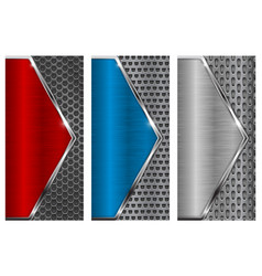 Metal brushed background with perforation red vector