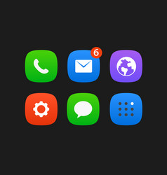 mobile application icons set isolated on black vector image