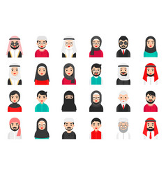 Muslim avatar icon set flat style vector