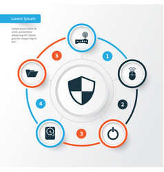 Notebook icons set collection defense dossier vector