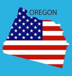 Oregon state of america with map flag print vector