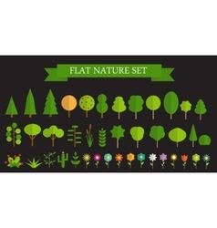 Paper Trendy Flat Trees and Flowers Set vector