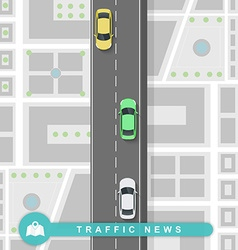 Paved path on the road in flat style Traffic news vector image