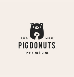 pig donuts hipster vintage logo icon vector image