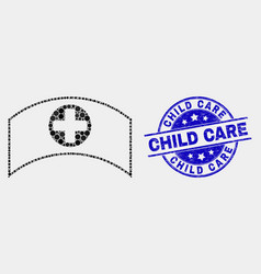 pixel medical cap icon and grunge child vector image