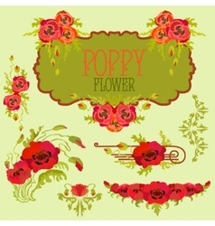 Poppy flower design elements set Bouquets and vector