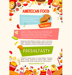 Poster of fast food poster snacks and meals vector