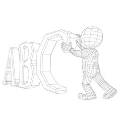 puppet 3d man with abc vector image