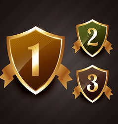 Ranking label badge design in gold vector