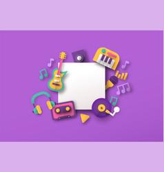 Retro papercut music instrument icon template vector