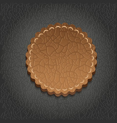 Round leather label vector