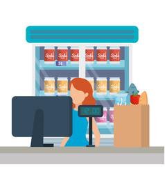 Saleswoman working in supermarket sale point vector