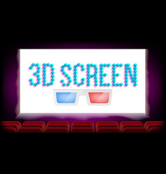 Screen 3d movie cinema red seats blank vector