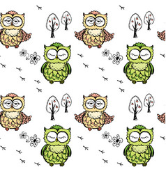 seamless doodle owl pattern background vector image