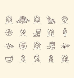 Set dermatology related outline icons vector
