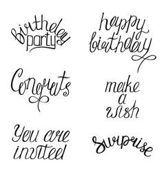 Set happy birthdays calligraphy phrases vector