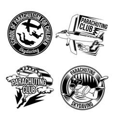 Set parachuting emblems vector
