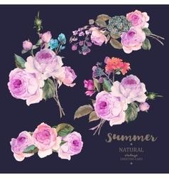 set vintage floral bouquet english roses vector image