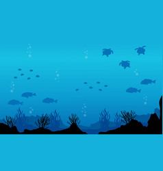 Silhouette of fish various underwater landscape vector