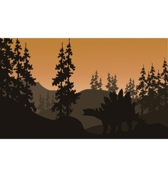 Silhouette of stegosaurus and spruce vector