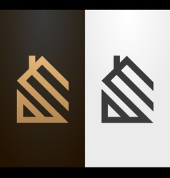 Simple line house logo icon vector image vector image