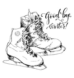 Sketch of ice skates and hand drawn text vector