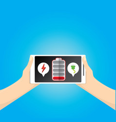 Smartphone with red low battery icon on screen vector