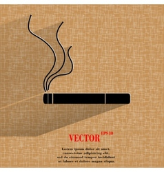 Smoking sign cigarette Flat modern web button on a vector image