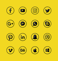 Social media glossy icon sets logos symbols vector