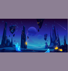 Space background night alien fantasy landscape vector