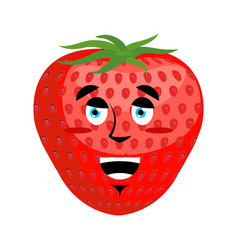 strawberry happy emoji red berry merryl emotion vector image