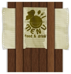 Template frame food and drink wooden boards vector