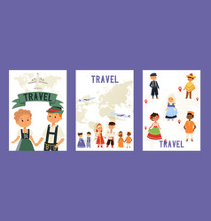 travel and children nationalities set cards vector image