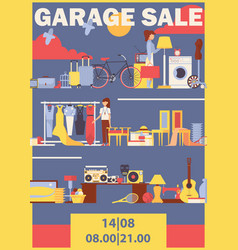 vertical poster or flyer for garage sale vector image
