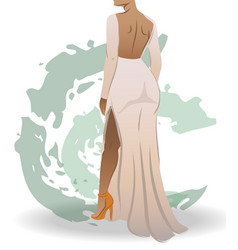 View from back a fit woman dressed in white vector