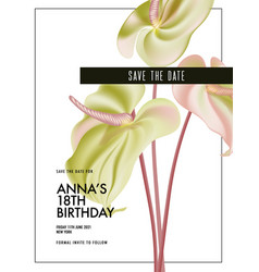watercolor anthurium wedding flower save date vector image