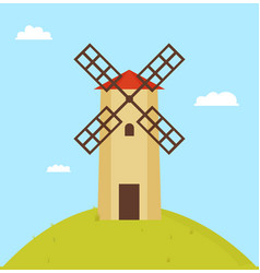 windmill on round hill color vector image