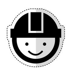 Worker with helmet head vector