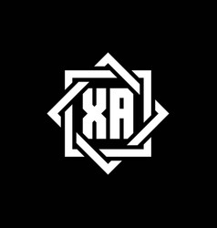 Xa monogram logo with abstract square around vector