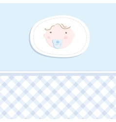 Baby boy arrival announcement card vector image vector image