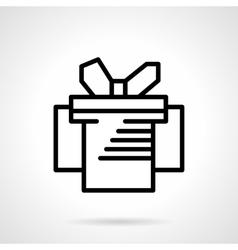 Gift box simple black line icon vector image