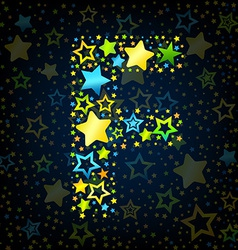 Letter F cartoon star colored vector image vector image