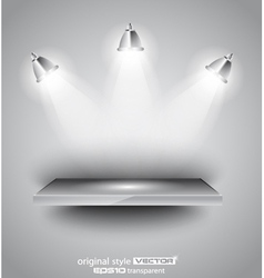 Shelf with spotlights vector image